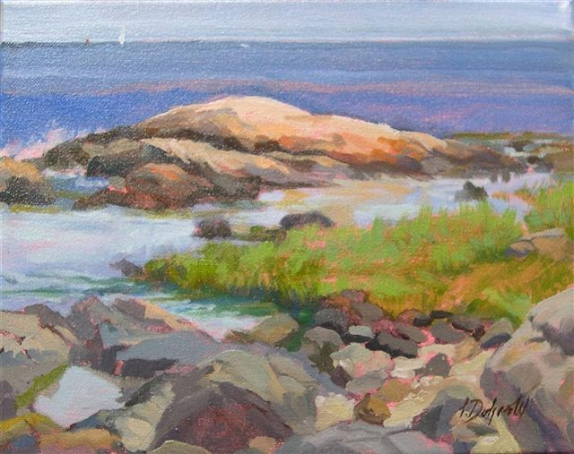 Down on the Rocks Odiorne Point (oil, framed) 8x10 $300