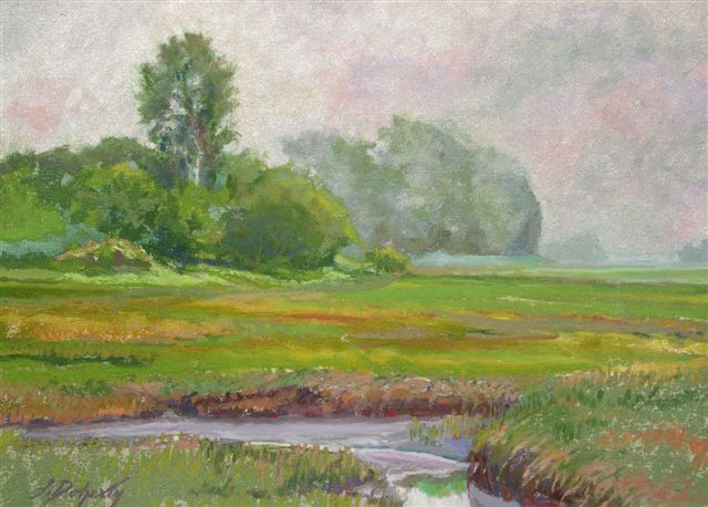 Misty Morning Marsh (pastel) 7.75x11 $150