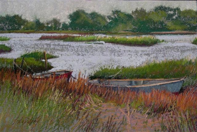 Tied Up and Tide Out (pastel) 9.25x13.75 $125)_